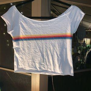 Brandy Melville/J Galt Rainbow Stripe Crop Top